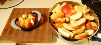 Chopping apples is quick with the cutter